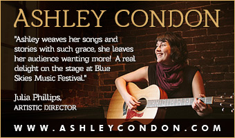 Ashley Condon, singer-songwriter, playing acoustic guitar